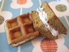 These are so cute! Pumpkin Waffle Cream Cheese Sandwiches -- great finger food for kids!
