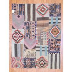Herat Oriental Afghan Hand-woven 1960s Semi-antique Tribal Patchwork Wool Kilim (5' x 6'7) (Afghan Hand-knotted Area Rug), Multi (Natural Fiber, Geometric)
