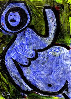'Deep Space Fertility Goddess' e9Art ACEO Art Painting Fantasy Myth Nude Surreal #Expressionism