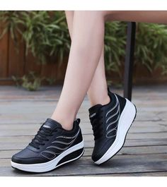 Women s  black leather  rocker sole shoe sneakers 05beb54383