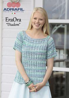 """Breien. Deze prachtige katoenen trui """"Diadem"""" is gemaakt met Adriafil EraOra. Een nieuw geprint (over de gehele lengte) design garen van Adriafil. Adriafil EraOra staat garant voor een lang blijvend en kleurrijk garen. Adriafil_EraOra_Diadem.jpg"""