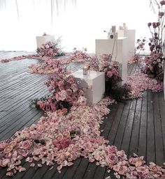 Untamed Florals / Unexpected Floral Installation / Scattered Rose Petals / Pink Flowers / Wedding Inspiration / La Porte Space Sydney / My Violet / The LANE
