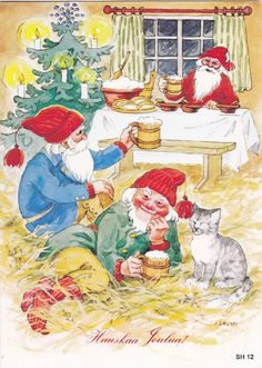 Gnomes are free of allergies. Forest Creatures, Mythical Creatures, David The Gnome, Owl Feather, Kobold, Scandinavian Gnomes, Elves And Fairies, Old Cartoons, Christmas Wallpaper