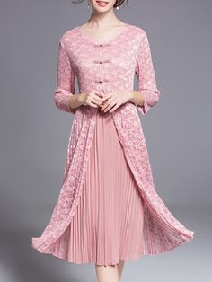 Elegant A-line Pleated 3/4 Sleeve Midi Dress