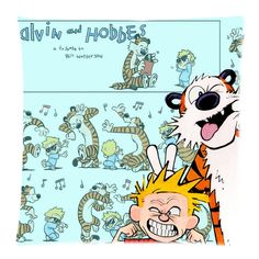 """Calvin and Hobbes Making Face Throw Pillow Cover 18""""x18""""   @CaseCoco Free Shipping $19.95"""