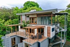 Absolutely Gorgeous Eco Friendly Container Home - Costa Rica - Living in a Container Container Van House, Sea Container Homes, Shipping Container House Plans, Building A Container Home, Container House Design, Shipping Containers, Container Conversions, Container Architecture, Sustainable Architecture