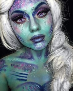 Halloween best magic makeup for fairy, unicorn, mermaid or other amazing creature! Mermaid Face Paint, Mermaid Brush, Mermaid Eyes, Halloween Looks, Halloween Face Makeup, Mermaid Halloween Makeup, Halloween 2018, Mermaid Fantasy Makeup, Mermaid Costume Makeup