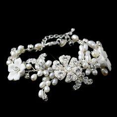 Silver Clear Rhinestone & Freshwater Pearl Porcelain Flower Bridal Bracelet