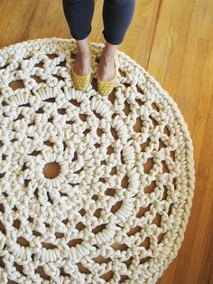 Doily Rug! Use cotton rope. I am not paying 900.00 for one, but maybe I can make one.