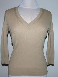 Lauren Ralph Lauren Women's Classic Ribbed V-Neck Sweater Tan Small $69.50 NWT #LaurenRalphLauren #VNeck