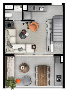 Planta do Duplex – pavimento inferior - 55m²