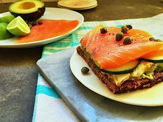 Open Faced Smoked Salmon and Avocado Sandwich on Rye Bread Recipe by Mom's Kitchen Handbook