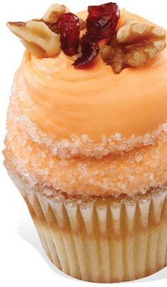 Orange Cranberry Walnut Cupcakes - Orange cake with cranberries and walnuts baked in, orange cream cheese frosting, rimmed in crystal sugar. Gigi's Cupcakes, Yummy Cupcakes, Cupcake Cookies, Cupcake Flavors, Cupcake Recipes, Dessert Recipes, Cupcake Ideas, Just Desserts, Delicious Desserts
