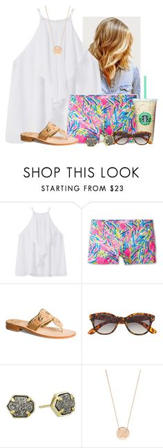 """#BuyMeLilly"" by flroasburn ❤ liked on Polyvore featuring MANGO, Lilly Pulitzer, Jack Rogers, H&M, Kendra Scott and BaubleBar"