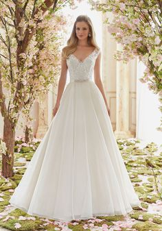 Delicately Beaded Embroidery on Organza Wedding Dress Designed by Madeline…