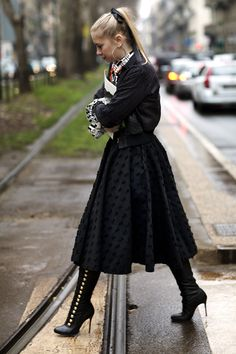 In love with this polkadot skirt! - The Sartorialist On the Scene....Forever Fifties, Milan #fashion #skirt #fifties