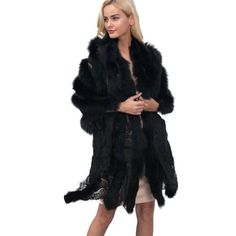 3a5b9b41f0f Ladies Lace Warm Faux Fur Coat Shawl Winter Parka vest! coats jackets