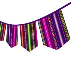 PERUVIAN Tribal Banner, Ethnic Garland, Tribal Party Bunting, Flags Banner, Tribal Birthday, Fabric Banner, Teepee Banner, Aztec Banner by k9feline on Etsy