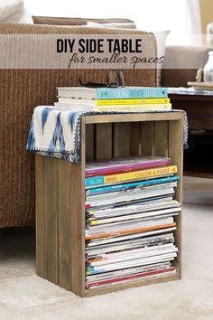 This easy DIY project turns a crate in to a handy side table with storage!