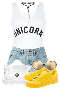 """*Cries in unicorn*"" by crazymarchbaby ❤ liked on Polyvore featuring New Look, T By Alexander Wang, Wildfox and adidas Originals"