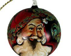 Hand Painted Christmas Ball Ornament w.Santa Face No.1 (Austria)