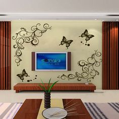 Butterfly Fly Flowers Vine Wall Stickers Decal Removable Art Vinyl Decor Home Vinyl Decor, Wall Stickers Home Decor, Wall Stickers Murals, Home Decor Wall Art, Vinyl Wall Decals, New Wall, Mirror Decal, Flower Wall Stickers, Removable Wall Decals