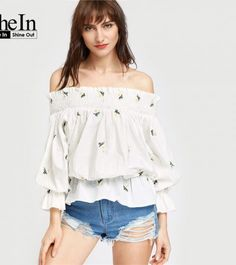 SheIn Womens Tops and Blouses Three Quarter Length Sleeve White Smocked Off The Shoulder Bow Back Embroidered Blouson Top