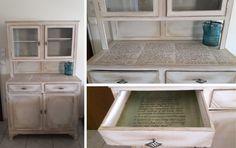 #furniture # chalk paint #autentico #vintage #antique white #dark borwn wax #green wax