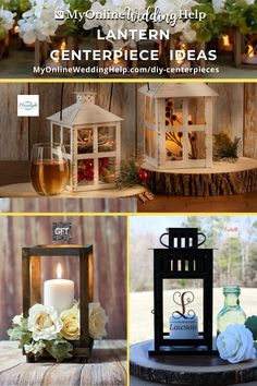 Ideas for which lanterns to use in wedding centerpieces, along with where to buy each of these. Part of the DIY wedding centerpieces with flowers post on the MyOnlineWeddingHelp.com blog.