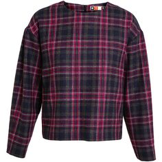 MSGM Checked Tartan Wool-Blend Top ($195) ❤ liked on Polyvore featuring tops, sweaters, round neck sweater, tartan sweater, plaid top, blue top and wool-blend sweater