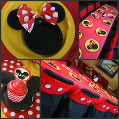Great table setting for Micky/Disney party. Just love it!