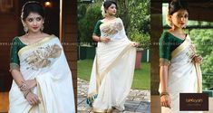Laksyah - Kavya Madhavans Online Shopping Website, which is a ladies boutiques in Kerala that simplifies your search for elegant and classy fashion. Set Saree Kerala, Kerala Saree Blouse, Indian Sarees, Onam Saree, Kasavu Saree, Ethnic Outfits, Indian Outfits, Indian Attire, Indian Clothes
