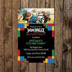 4 x 6 Printable Lego Ninjago Birthday Party by DesignedDelivered