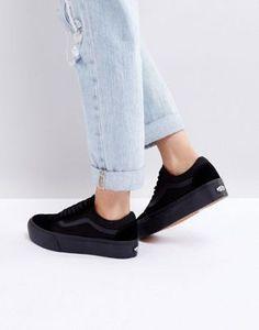 a54485aaee8224 Vans Old Skool triple black platform sneakers