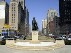 General Macomb statue, looking north on Washington Blvd. in Detroit. By Mike Russell. Detroit Michigan, Washington, Statue, Places, Washington State, Sculptures, Lugares, Sculpture