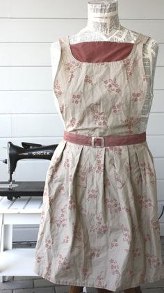Evelyn Apron  in Khaki and Rose Cherry by SugarSpiceandNutmeg, $30.00