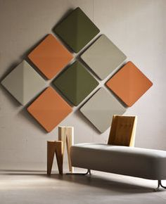 textile acoustic panel / wall-mounted