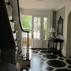 black and white painted floor