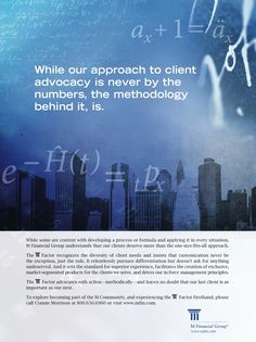 M Financial Print Ad developed from 2010 Annual Report. Theme: The M Factor