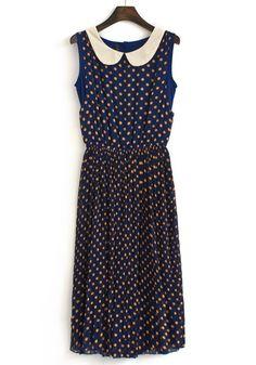 Blue Polka Dot Cascading Ruffle Chiffon Dress