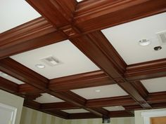 Coffered Ceiling Molding by the Design Build Planners. Information on coffered ceiling molding and pictures provided. Wooden Ceilings, Ceiling Beams, Ceiling Lights, Coffered Ceilings, Molding Ceiling, Ceiling Decor, Colored Ceiling, White Ceiling, Ceiling Treatments