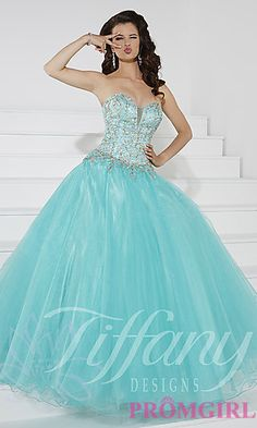 Strapless Sweetheart Floor Length Prom Dress by Tiffany at PromGirl.com