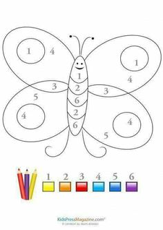 Illustration about Color by number game with cute butterfly sketch and large numbers from 1 to Very useful for kindergarten/preschool children. Preschool Colors, Preschool Writing, Numbers Preschool, Preschool Learning Activities, Preschool Activities, Teaching Resources, Color By Number Printable, Free Kindergarten Worksheets, Alphabet Worksheets