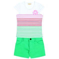 Conj. Short / Blusa ½ Malha Listrada Aplicação Flor Tamanhos: 04 ao 12  #fashion #style #love  #cute #photooftheday #beautiful #model #moda #primavera #verao #brasil #webstagram #statigram #nofilter