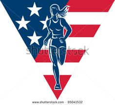vector illustration of a illustration of a female Marathon road runner jogger fitness training road running with American flag stars and stripes in background inside triangle - stock vector #trackandfield #retro #illustration