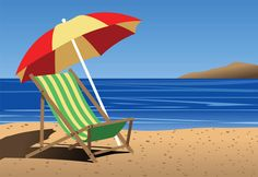 Grab This Free Clipart to Celebrate the Summer: A Colorful Beach Chair and Umbrella