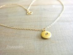 Tiny Locket Necklace in Gold and Brass