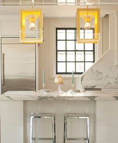 The Cosy lantern in neon yellow and brass, designed by Michael Amato for Urban Electric Co. Interior by Cynthia Brooks Design.