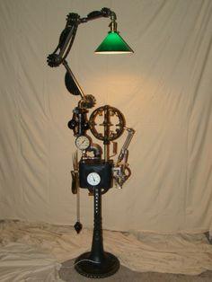 Articulating Steampunk machine age floor lamp