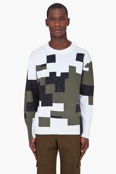 3.1 PHILLIP LIM Cream Combo Knit sweater
